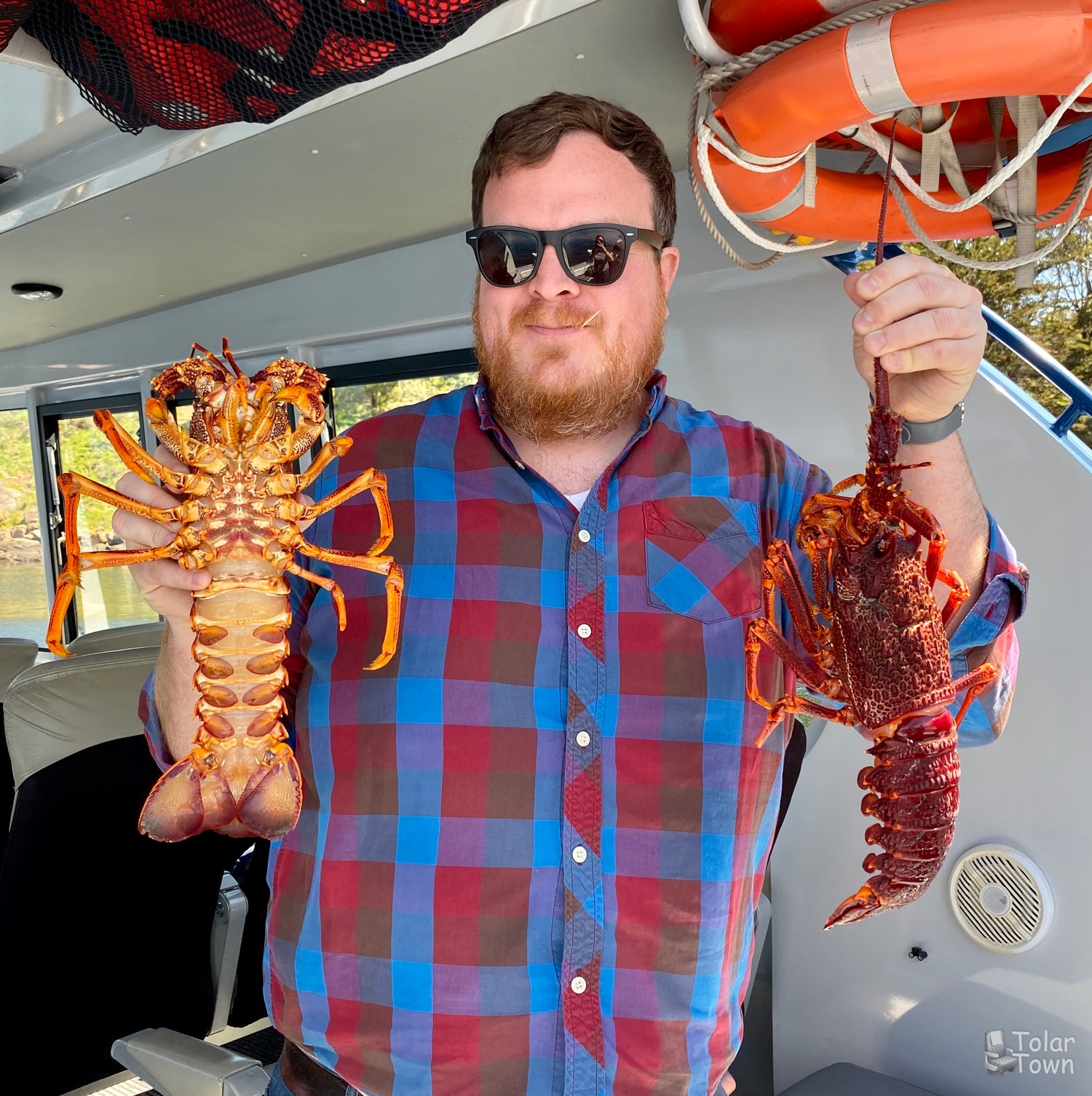 Me holding the rock lobster