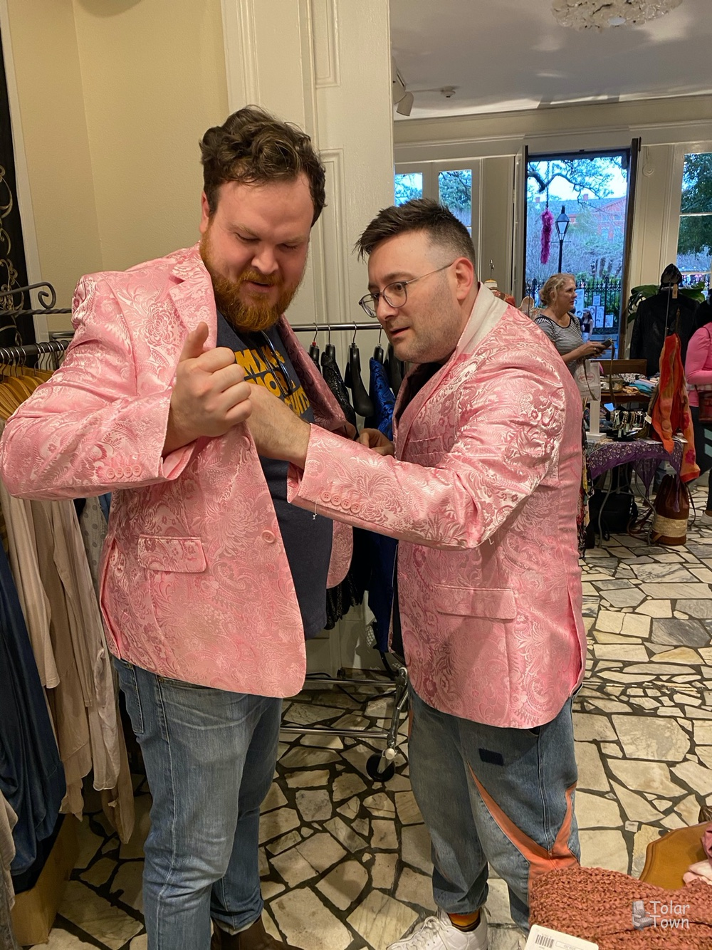 Tolar & Clint trying on some jackets